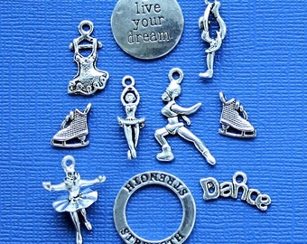 Figure Skating Charm Collection Antique  Silver Tone 9 Charms - COL163