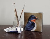 Barn Swallow bird art block, mini canvas painting, songbird art 4x4 original - BirdsinHand