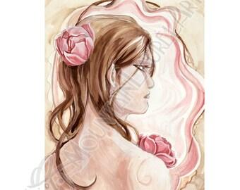 Magnolia Pink Nouveau Brunette Gouache Painting Art Card Print