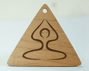 Wood Yoga Seated Pose Ornament Laser Engraved