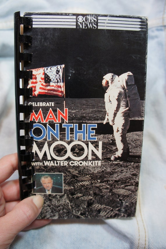 vintage 80's NASA recycled MAN on the MOON vhs notebook