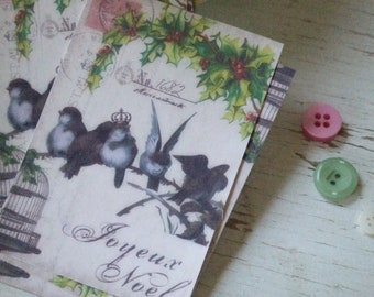 Mini notecards - small notecards - Noel - christmas notecards - birds and christmas notecards - embellishments