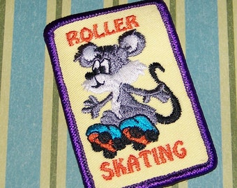 Roller Skating Mouse Retro Patch