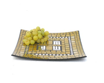 Golden angular fruit platter tray yellow mosaic chic modern home decor with mirror pieces