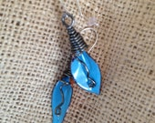 Enameled Blue Lily Earrings by Wendy Kay Designs