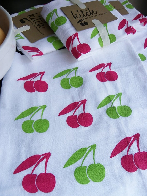 SALE! Retro Cherries Flour Sack Tea Towel Screen Printed Rockabilly Kitsch Fruit Red Green