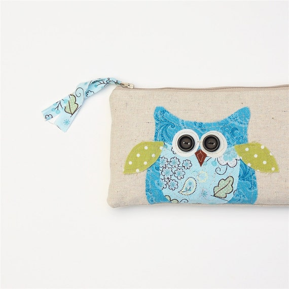 SALE blue owl clutch pouch, personalized owl bag, blue and green, READY to SHIP by mamableudesigns