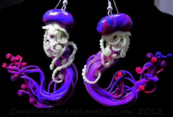 magenta purple  jellyfish earrings