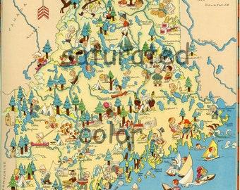 Maine Map Vintage -  ORIGINAL 1930s Vintage Picture Map of Maine - Ruth Taylor White - Kennebunkport Augusta Bar Harbor Lewiston Souvenir