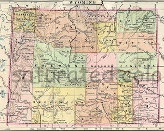 Wyoming Map - Vintage Antique Map - Original 1895 Map of Wyoming - Big Sandy - Cheyenne - Medicine Bow - Laramie