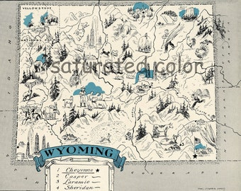 Wyoming Map - Map Art - High Res  DIGITAL IMAGE of a 1930s Vintage Picture Map - Turquoise Aqua - Charming & Fun