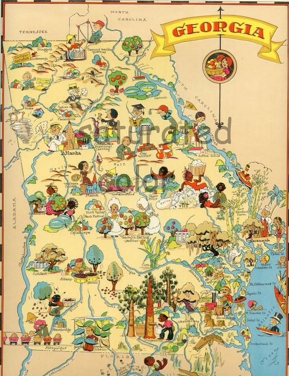 map original 9 x 13 vintage 1930s antique picture map