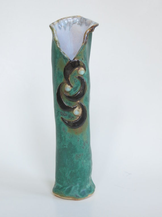 Abstract Verdigris Ceramic Vase Black Whimsical Accents Contemporary Clay Pottery Decoration
