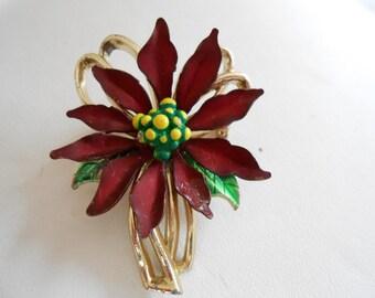 Vintage brooch, poinsettia brooch, floral brooch, enamel brooch, 1950s brooch, retro brooch