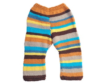 Childrens baby toddler girls boys hand knitted pants trousers, Multicolor Stripes Blue green Yellow brown orange beige 0-24 months 2-3-4-5T