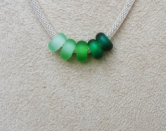 Green Dreams Ombre Sea Glass Rings for European Charm Bracelet