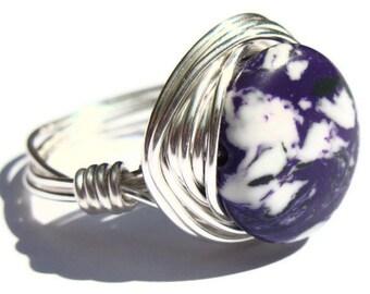 Purple Stone Wire Wrapped Ring Boho Fashion Jewelry