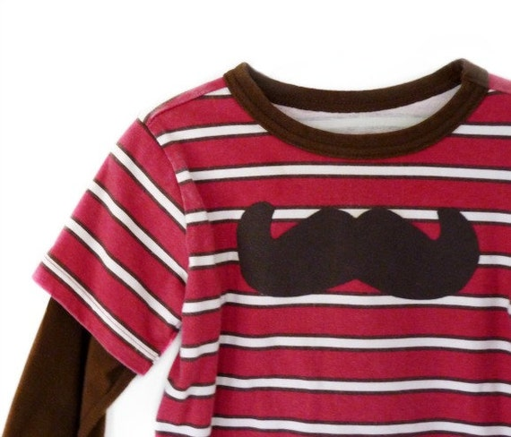 Mustache Tshirt Boys Clothing 2t Brown Red Longsleeve Upcycled by TrashN2Tees