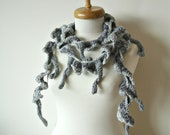 Scarf with Lovely Caterpillars,  Unique Design By CrochetLab, Ready To Ship, Fiber art,  Extra  Long, OOAK Design Grey Scarf