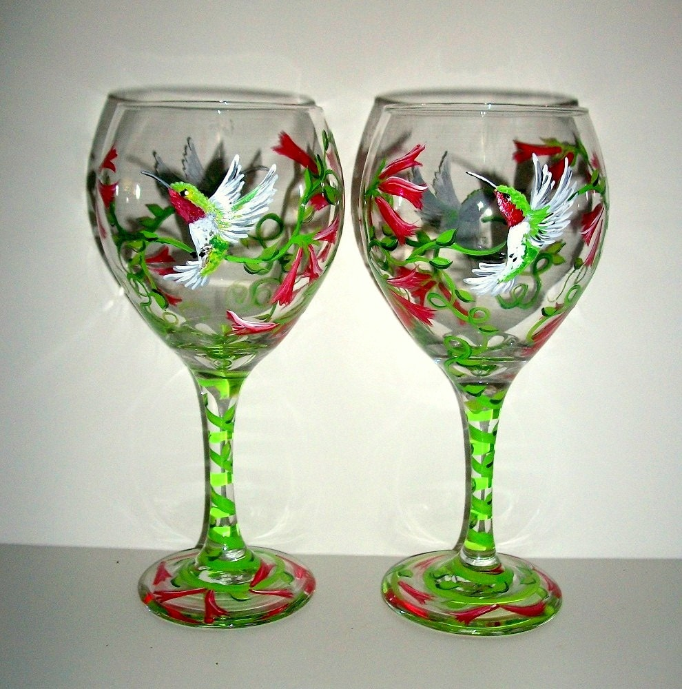 hand painted wine glasses humming birds by
