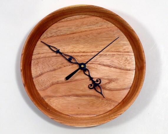 Turned Wood Clock, Wood Wall Clock, Chinaberry Wood Clock