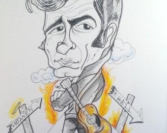 Johnny Cash Rock Portrait Rock and Roll Caricature Music Art by Leslie Mehl