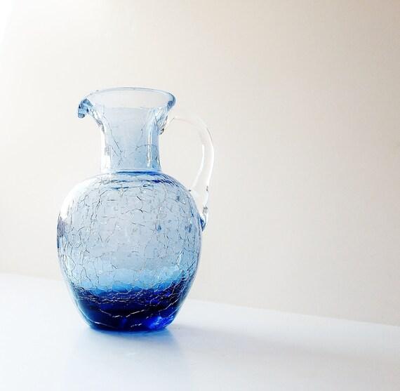 Twilight Blue Pitcher Creamer Ewer Vintage Crackle Art Glass