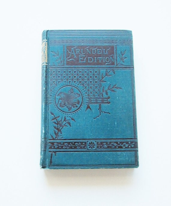 Antique Book Milton Paradise Lost Arundel Edition Art Nouveau Victorian Teal Blue