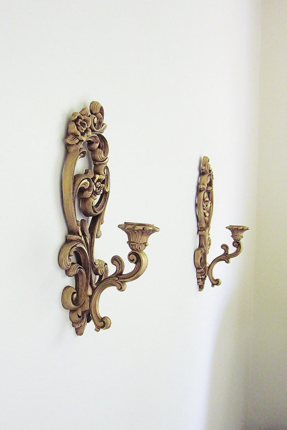 Gold Baroque Rococo Wall Sconces Vintage Candelabras by