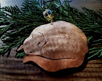 Copper Sleeping Cat Ornament
