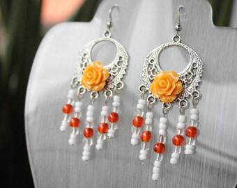 Autumn Orange Flower Charm Blossom Beaded White and Orange Earrings