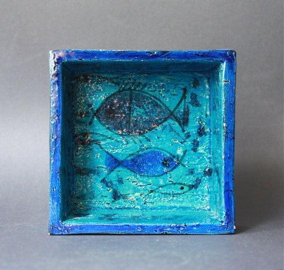 RARE Bitossi Mid Century Modern Italian Pottery Square Bowl Rimini Blu Fishes Decor By Aldo Londi