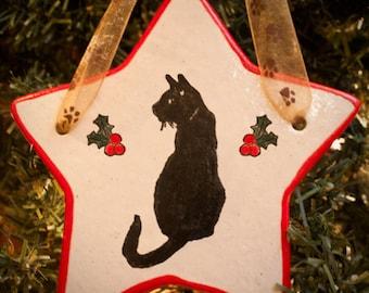 Black Cat Posing - Holiday Star Ornament