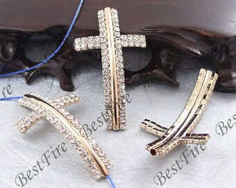 5pcs of 28x50mm Gold Tone Sideways Cross Rhinestone Connector,Cross Bracelet Connector,bangle findings