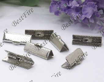 50 pcs of 16mm platinum tone Ribbon End Clamps,Ribbon Clamps,Crimp End Fastener Clip, findings beads,jewelry findings