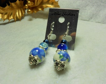 Blue Flower Ceramic Earrings