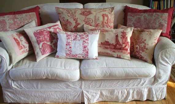 RESERVED FOR KAREN antique french pillow rare toile de jouy cica 1790c