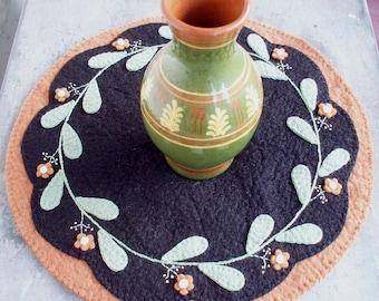 Wool Felt Redware Flower Table Mat