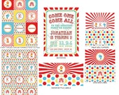 DIY -  Printable: Circus  Birthday Party Set -  13 items (invitation, party circles, water bottle labels, banner and more)
