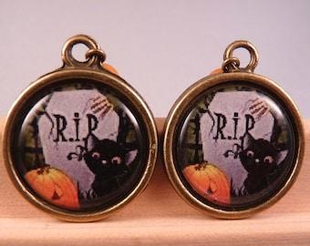 Halloween Jewelry Halloween Earrings Cat Jewelry Cat EarringsPumpkin Earrings Pumpkin Jewelry Brass Jewelry Holiday Jewelry