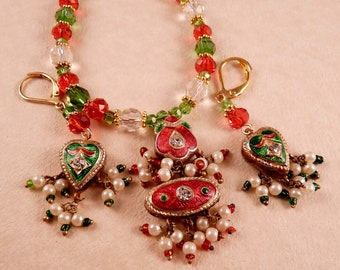 Christmas Necklace Christmas Jewelry Crystal Necklace Beaded Necklace Holiday Jewelry Crystal Jewelry Beaded Jewelry