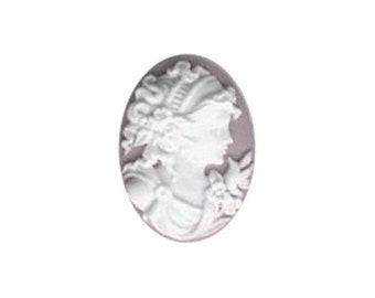 Lilac Profile Cameo Resin cameo victorian cameo 25x18  jewelry finding  370q