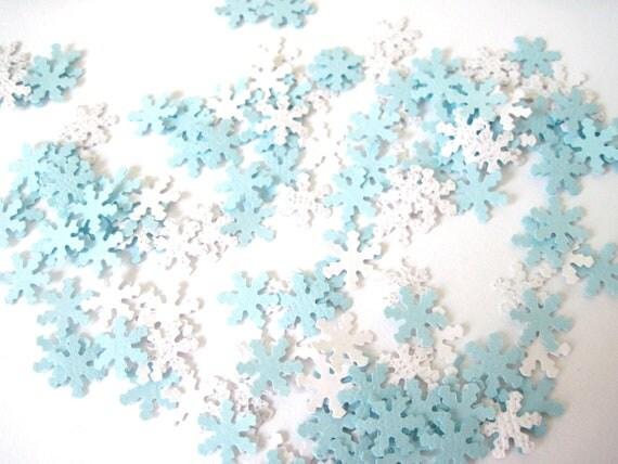 Winter Snowflake Confetti, Blue Christmas Confetti Table Scatter, 450 pieces