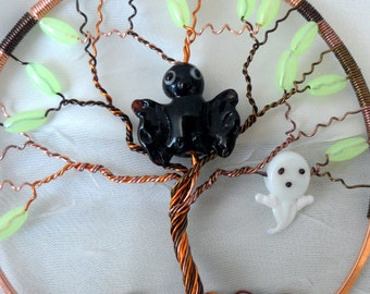 Wire Wrapped Ornament with Bat and Ghost