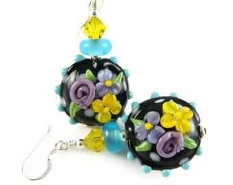 Flower Lampwork Earrings, Glass Bead Earrings, Black Dangle Earrings, Beadwork Drop Earrings, Yellow Glass Bead Jewelry, Lampwork Jewelry