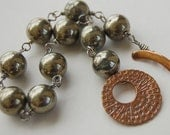 Mixed Metal, Shiny Pyrite, Saki Bronze Toggle Clasp, Rustic Glam Bracelet