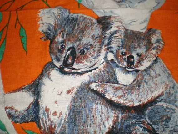 Large Vintage Mid Century Linen Kitchen Towel - Australia And Koalas