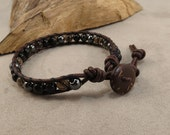 Men's Manifestation, Luck & Protection Leather Wrapped Bracelet with Gold sheen Obsidian, Smoky Quartz, Black Tourmaline and Hematite
