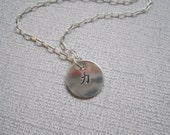 Strength Sterling Handstamped  Necklace with Chinese Symbol of Power and Strength