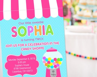Sweet Shoppe Party Invitation | Sweet 16 Invitation | Sweet Shoppe Birthday Invitation | Candyland Invite | Amanda's Parties To Go